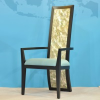 High-back dining chair has abalone shell inlays